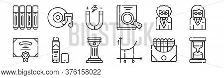 12 Set Of Linear Academy Icons. Thin Outline Icons Such As Hourglass, Calculus, Glue Stick, Teacher,
