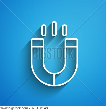 White Line Magnet Icon Isolated On Blue Background. Horseshoe Magnet, Magnetism, Magnetize, Attracti