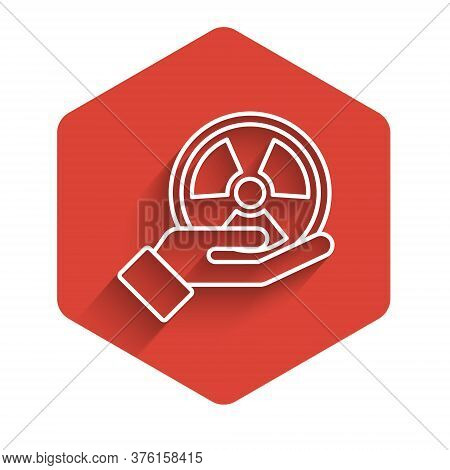White Line Radioactive In Hand Icon Isolated With Long Shadow. Radioactive Toxic Symbol. Radiation H