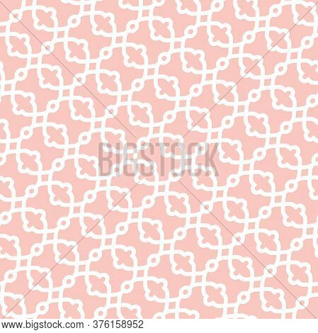 Seamless Vector Pink And White Ornament In Arabian Style. Geometric Abstract Background. Pattern For
