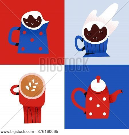 Coffee Shop Popart Poster, Espresso And Cappuccino Drinks, Coffee Maker And Teapot, Decorative Illus