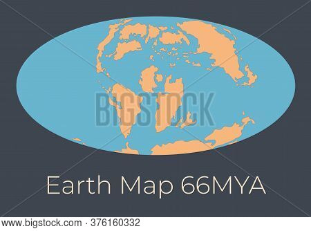 Map Of The Earth 66mya. Vector Illustration Of Earth Map With Orange Continents And Blue Oceans Isol