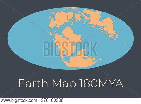 Map Of The Earth 180mya. Vector Illustration Of Earth Map With Orange Continents And Blue Oceans Iso