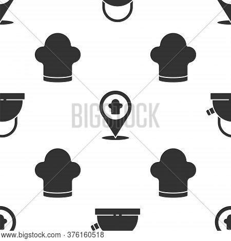 Set Kettle With Handle, Chef Hat With Location And Chef Hat On Seamless Pattern. Vector