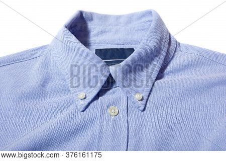 Blue Mens Shirt With Button Down Collar