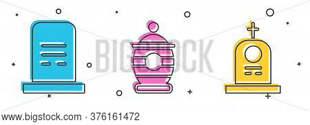 Set Grave With Tombstone, Funeral Urn And Grave With Tombstone Icon. Vector