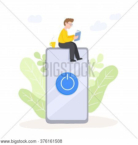 Digital Detox - Man Is Reading A Book With Cup Of Coffee. Miniature Guy Sitting On Mobile Phone. Fre