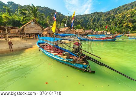 Surin Islands, Ko Phra Thong, Thailand - January 3, 2016: Surin Islands Of Phang Nga Bay. Fisherman