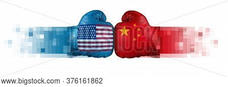 United States China Tech Cold War And Us Or Usa Technology With Two Opposing Digital Partners As An