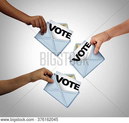 Mail In Voting And Vote With Mailed Ballots As An Election Symbol Of Diverse People Casting A Ballot
