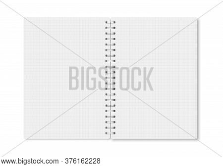 White Realistic A5 Notebook Opened With Soft Shadows. Vector Vertical Blank Copybook With Metallic W