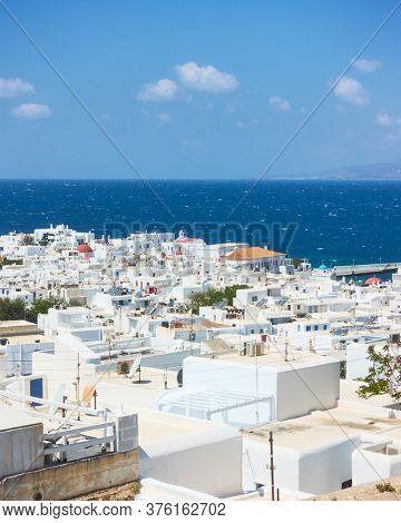 Mykonos town by the sea, Greece. Greek scenery