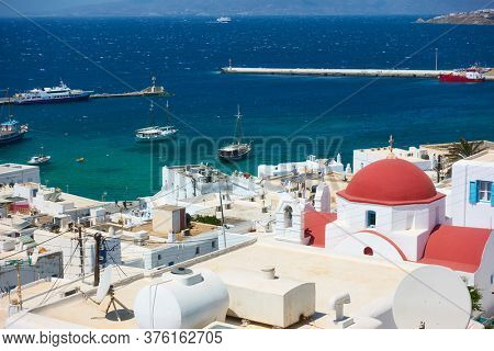 Mykonos town and The Old Port, Greece. Greek scenery