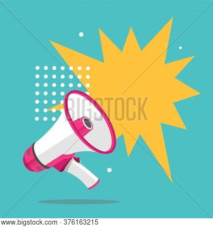 Megaphone Advertising Concept Banner Flat Design Style With Place For Text. Vector Illustration Of E