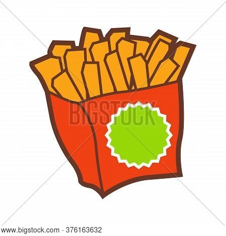 Illustration Of Fast Food French Fries. Tasty Fastfood Lunch Product Icon.