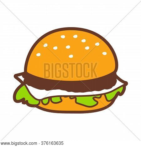 Illustration Of Fast Food Hamburger. Tasty Fastfood Lunch Product Icon.