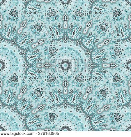 Chakra Flower Seamless Pattern. Turkish Folk Vector Graphic Design. Tangle Bohemian Peacock Geometri
