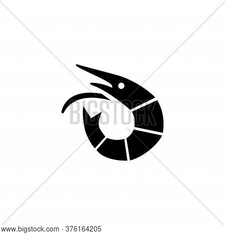 Shrimp Seafood, Langoustine, Tiger Prawn. Flat Vector Icon Illustration. Simple Black Symbol On Whit