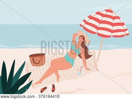 Smiling Body Positive Woman Lie On Litter Under Striped Umbrella. Summer Time Vector Illustration. S