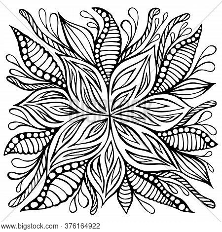 Fantasy Flower Doodle Style Coloring Page. Decoration Cartoon Floret Isolated On White Background.