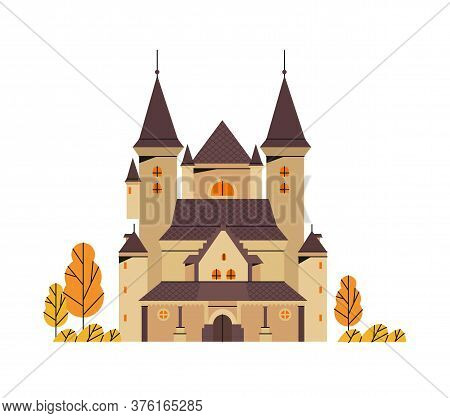 Vector Illustration On A Haunted Castle In A Gothic Architecture Style In Autumn Isolated On A White