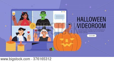 People In Costumes Having Videocall Celebrating Halloween At Home. Concept Of Video Conference Call