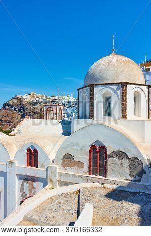 Greek church in Fira (Thera) town in Santorini island, Greece.  Greek scenery
