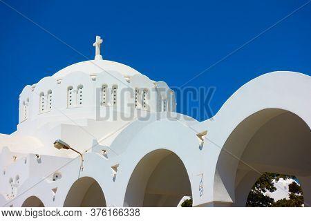 Dome of Orthodox Metropolitan Cathedral in Fira (Thera), Santorini, Greece