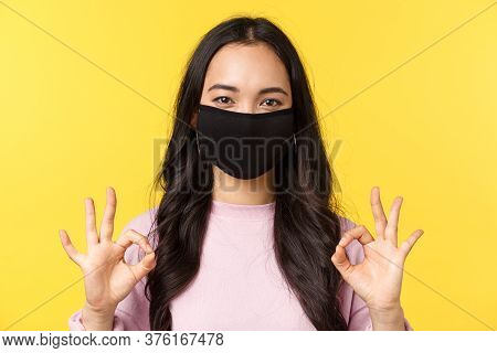 Covid-19, Social-distancing Lifestyle, Prevent Virus Spread Concept. Close-up Of Happy Smiling Asian