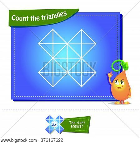 Educational Game, Brainteaser For Kids And Adults . Task Game Count The Triangles