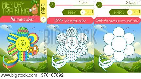 Memory Game Children And Adults. Remember And Draw Colour And Way. Memory Training,  Brainteaser;