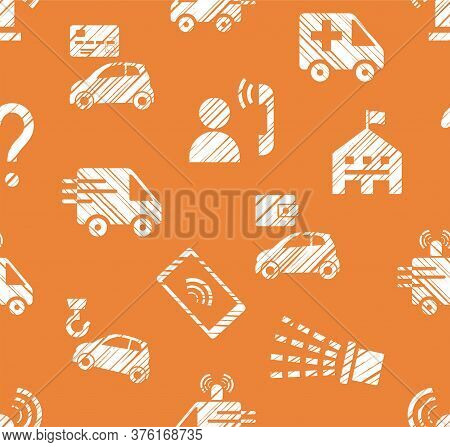 Emergency Service, Seamless Pattern, Monochrome, Hatching, Orange, Vector. Emergency Medical And Fir