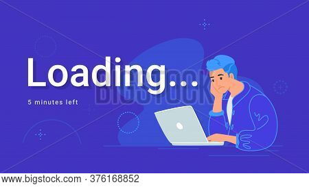 Upset And Bored Teenager Sitting With Laptop And Waiting. Flat Vector Illustration Of Tired Student