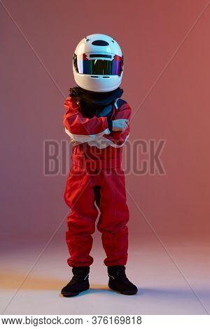 Cool Boy Child Racer In Helmet, Racing Suit, Standing In Neon Light. Kart Racing School Poster. Comp