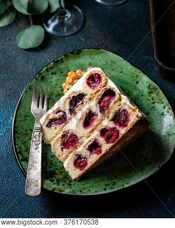 Cherry Cake. Russian Cake. Traditional Dessert. Piece Of Cake. Berries, Dessert. Red Currant. White