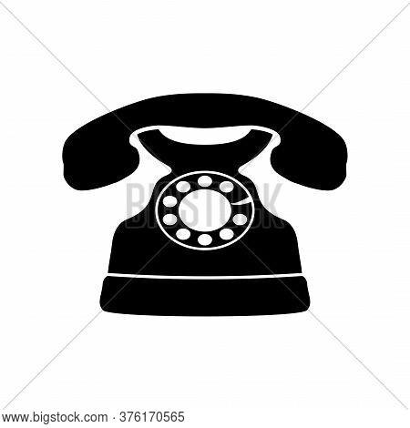 Retro Telephone Icon Isolated On White Background, Vintage Rotary Phone. Vector Illustration