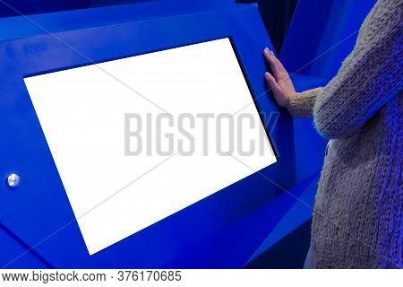 White Screen, Mock Up, Future, Copyspace, Template, Isolated, Technology Concept. Woman Looking At B