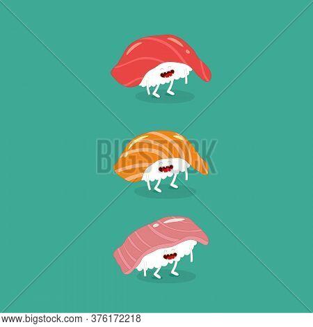 Sushi Salmon Tuna Seabass Funny Image. Vector Illustration.