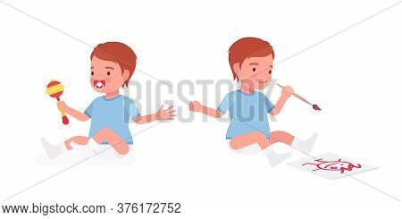 Toddler Child, Little Boy Playing With Rattle Toy, Drawing. Cute Sweet Happy Healthy Baby Aged 12 To