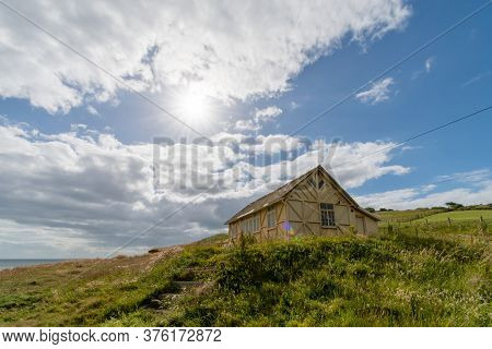 View Of The Wooden Hut At The Foot Of Thorncombe Beacon On The Southwest Coastpath In Dorset