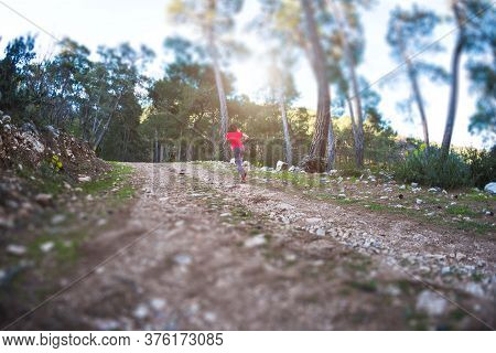 A Woman Runs Along A Mountain Trail. Runner Is Training In The Forest. Girl Jogging In The Park. Sky