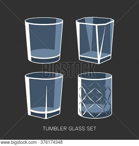 Empty Tumbler Glass Set Whisky Cognac Vector Illustration