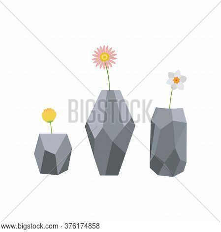 Set Of Flowers In Vases. Stylish Vase With Plants