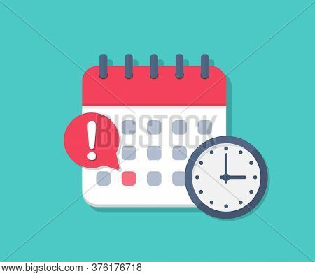 Calendar Deadline With Clock In A Flat Design