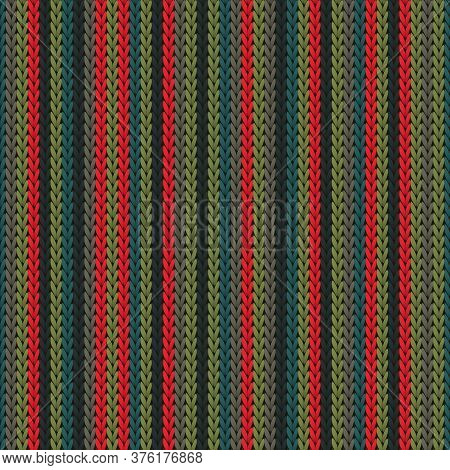 Natural Vertical Stripes Christmas Knit Geometric Seamless Pattern. Pullover Knitwear Fabric Print.