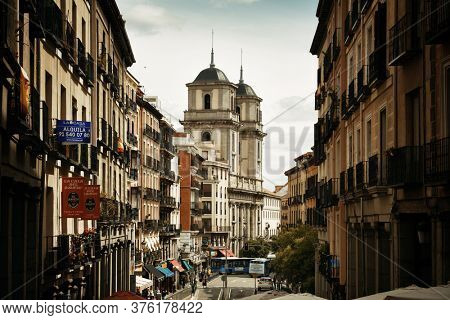 MADRID, SPAIN – MAY 13, 2018: Street view with historic buildings in Madrid, Spain.