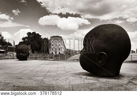 MADRID, SPAIN - MAY 13, 2018: Artwork sculpture. Atocha station is the largest railway station in Madrid.