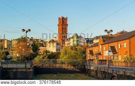 LIVERPOOL, UK - FEB 23, 2020: Liverpool cityscape with street view in England in United Kingdom