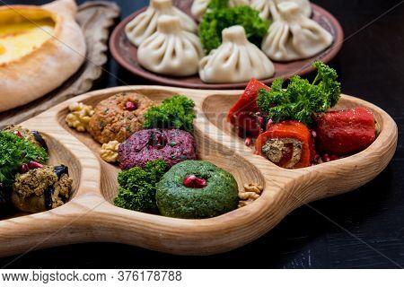 Georgian Cuisine Food Set. Georgian Restaurant. Restaurant Background.