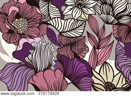 Bold Flower Pattern In Full Frame Showing Garden Flowers And Leaves In Shades Of Purple, Pink And Ye